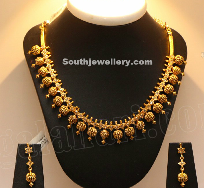 Simple Gold Beads Necklace Indian Jewellery Designs