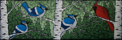 Departure, painting of cardinals and blue jays on birch by artist aaron kloss, pointillism
