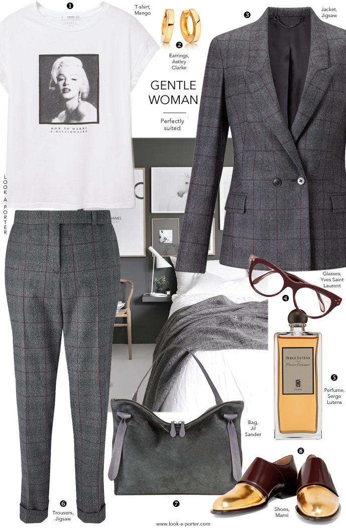 Boy meets girl... Ideas of styling a grey suit for many occasions featuring Jigsaw, Marni, Jil Sander, YSL, Mango at www.look-a-porter.com style & fashion blog / outfit inspiration delivered daily