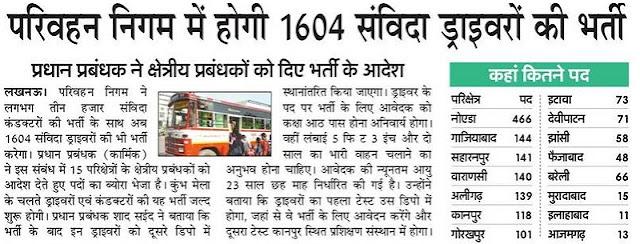 UPSRTC Driver Vacancy 2018 Vahan Chalak 1604