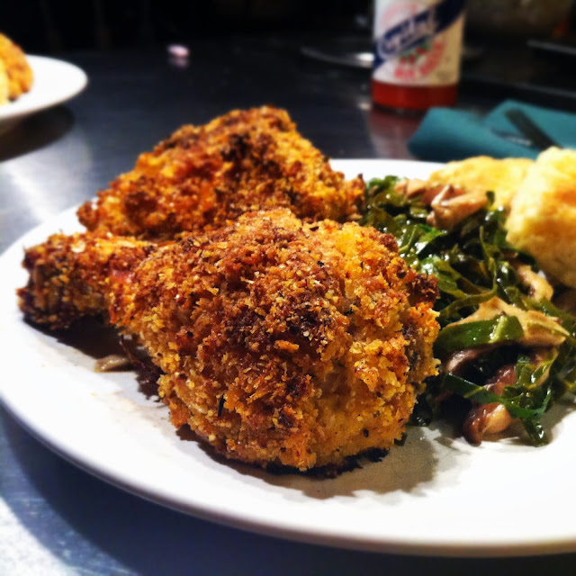Crispy Oven Baked Chicken with Cider Glazed Collard Greens and Homemade Biscuits