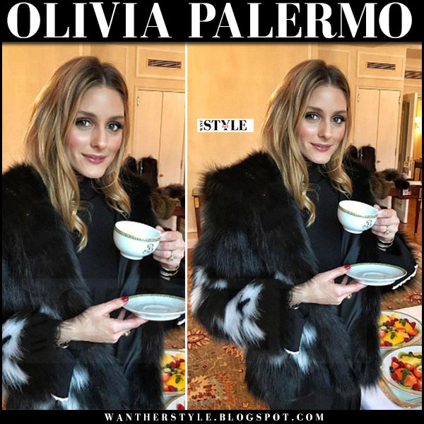 Olivia Palermo in black white intarsia mink fur jacket lilly e violetta what she wore