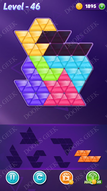 Block! Triangle Puzzle Intermediate Level 46 Solution, Cheats, Walkthrough for Android, iPhone, iPad and iPod