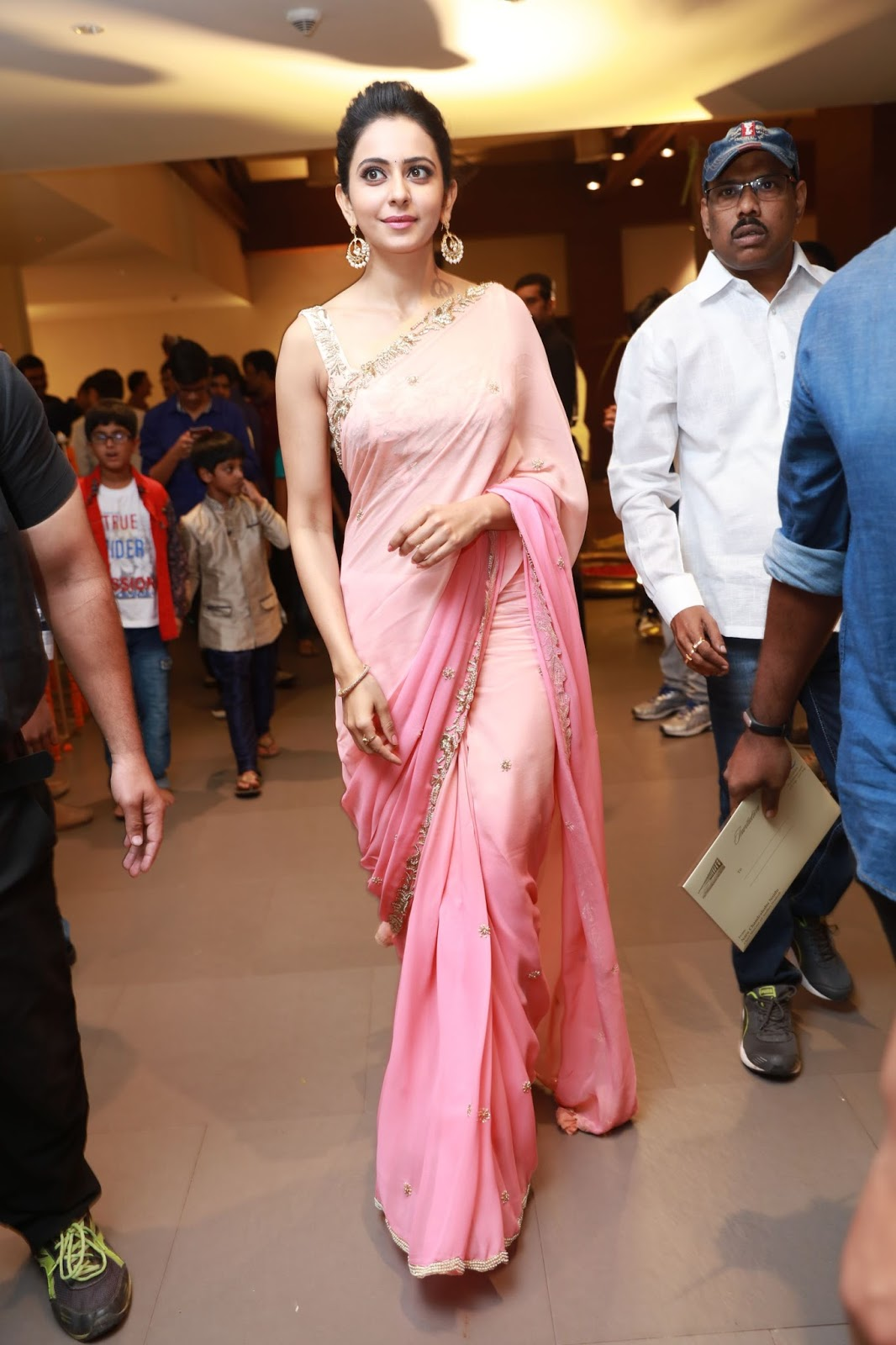 Rakul Preet Singh Photos In Pink Saree At Director Krish Marriage