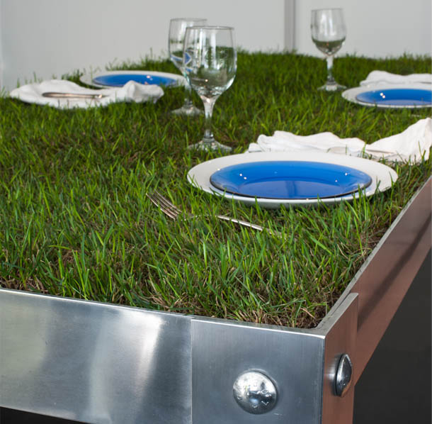 picnic table made with real grass
