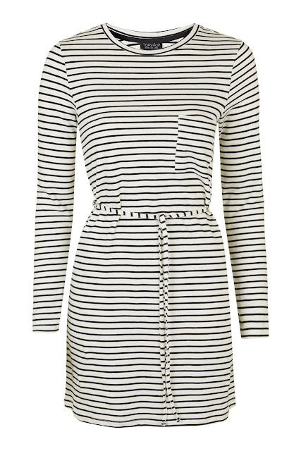 stripe belt dress, topshop black white stripe dress,