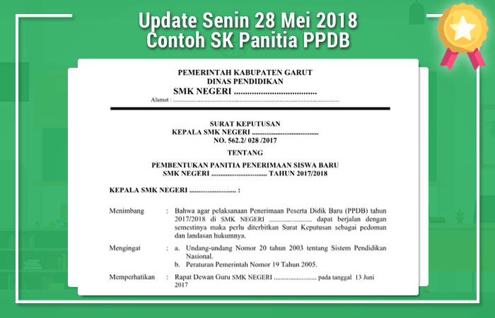 Update Senin 28 Mei 2018 Contoh SK Panitia PPDB