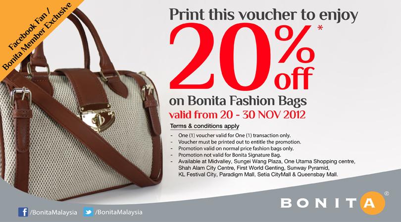 I Love Freebies Malaysia Promotions Bonita 20 Off Discount