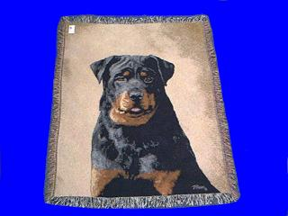 rottweiler blanket throw tapestry afghan face