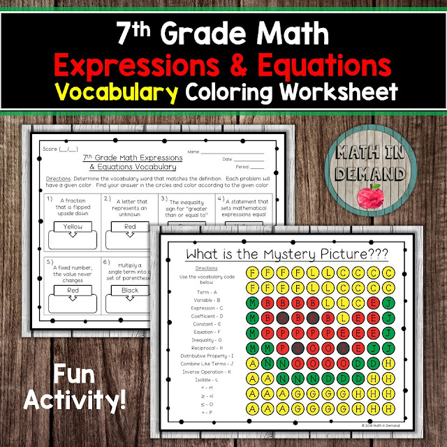 7th Grade Math Vocabulary Expressions & Equations