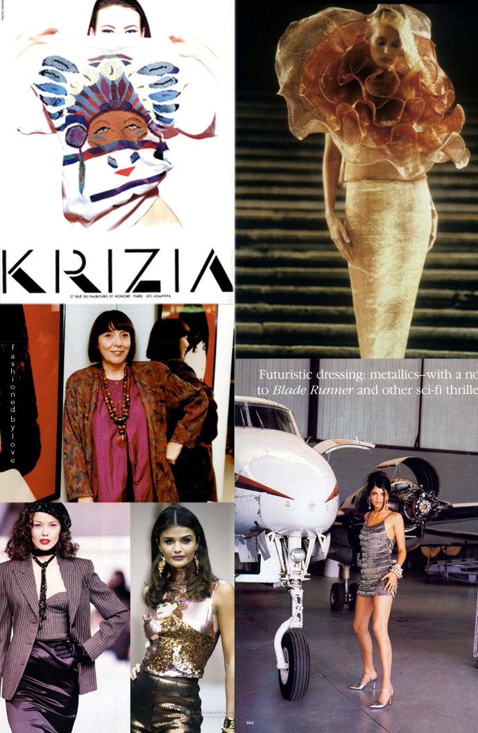 Shalom Harlow in Krizia Spring/Summer 1992 campaign, Tatiana Sorokko at Krizia Fall/Winter 1995, Helena Christensen at Krizia 1992, Krizia 1991 editorial, Helena Christensen wearing Krizia in Vogue US September 1990 / Mariuccia Mandelli Krizia fashion designer biography via www.fashionedbylove.co.uk