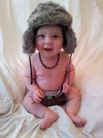6 month old baby, furry hat, photoshoot