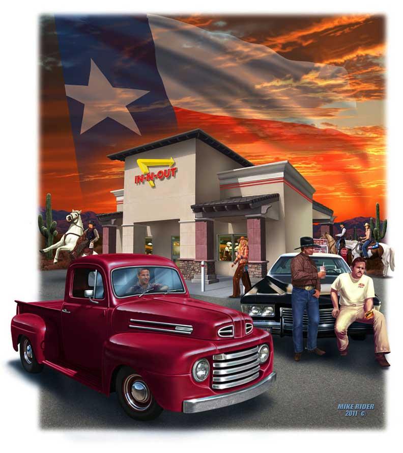 mike rider illustration in n out texas t shirt design. Black Bedroom Furniture Sets. Home Design Ideas