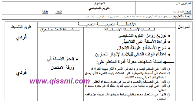 جذاذة التقويم التشخيصي عربية
