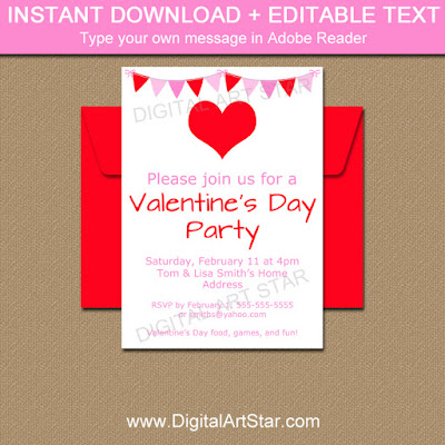 pink and red valentines day invitation, valentines day sign