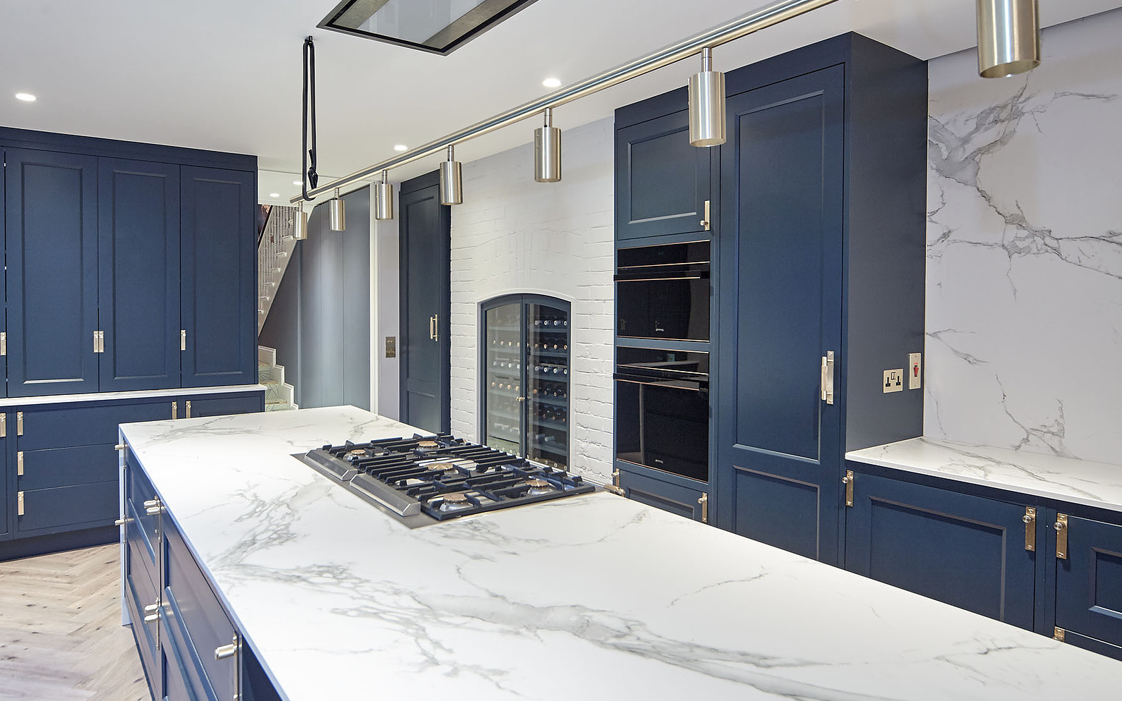 Navy blue and marble kitchen