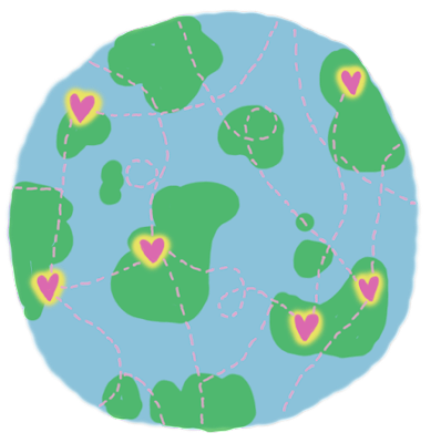 globe illustration with love hearts