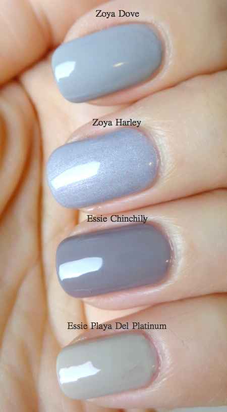 Nail Polish Comparison Four Shades Of Grey Lenallure