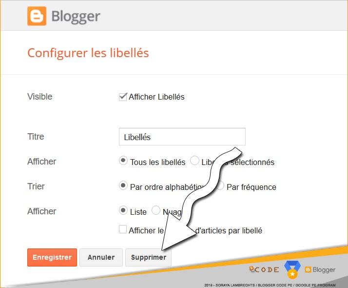 Bouton supprimer un gadget Blogger.