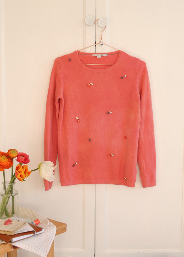 DIY – Dyed and Embellished Cashmere jumper refresh