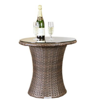 Brown All Weather Synthetic Outdoor Rattan Garden Bistro Table
