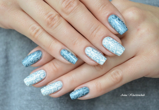 Маникюр Снегурочки или дуэт Oriflame Power Shine Palladium Blue Iridescence и Myabelline Colo Rama # 51