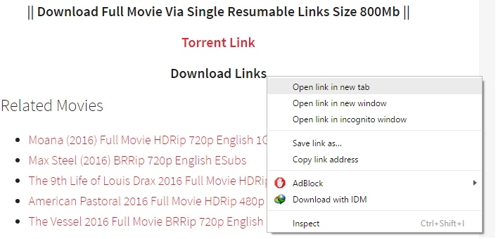 torrent link for hd movies