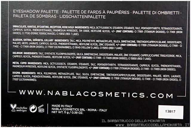 dreamy eyeshadow palette nabla cosmetics ombretti inci