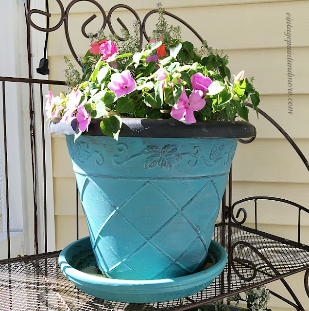 Vintage Paint and more... dated black plastic flower pot updated with teal paint