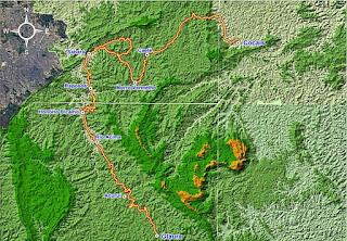 Mapa do Caminho de Sabarabuçu.  Fonte: IER.