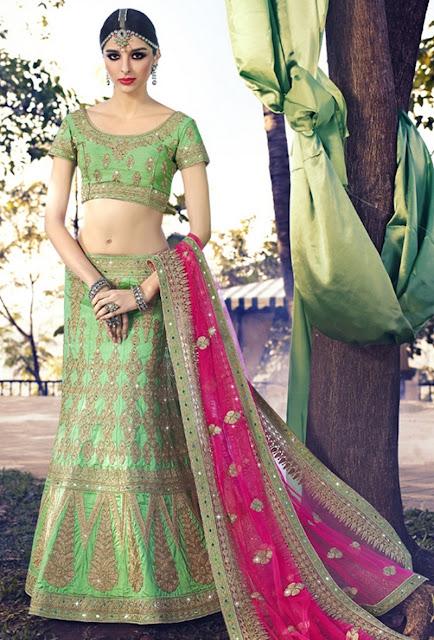 Zardosi Work Green Art Silk Embroidered Designer Wedding Lehenga
