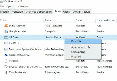 Disabilitare avvio automatico programma su Windows 10