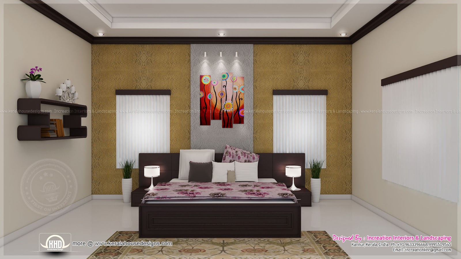 House interior ideas in 3d rendering kerala home design for Bedroom interior pictures
