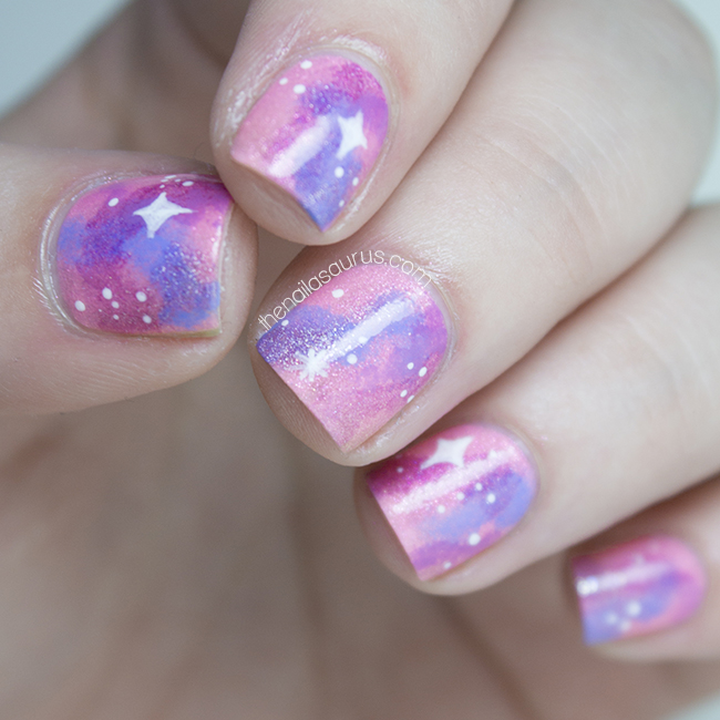 Shimmery Pink Galaxy Nail Art The Nailasaurus Uk Nail Art Blog