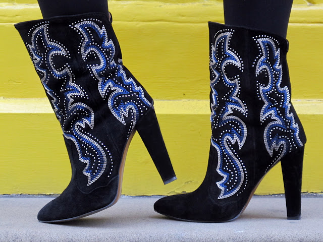 Cowboy-style blue and black studded Zara boots | UK fashion blog