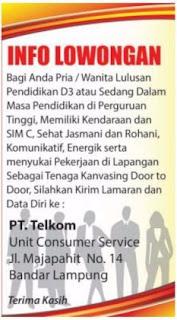 Karir Lampung Terbaru Dari PT. Telkom Unit Consumer Service Bandar Lampung April 2017