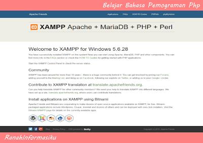 Belajar PHP : Cara Menjalankan Web Server Apache dan Membuka Htdocs Pada Browser