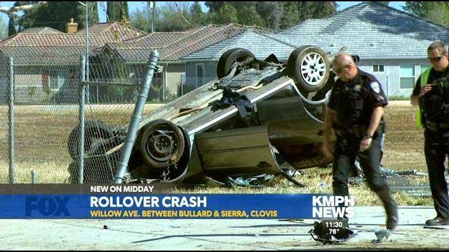 fresno county clovis rollover suv crash honda willow avenue