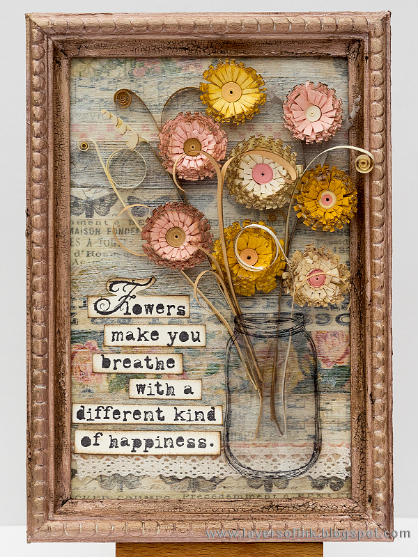 Layers of ink - Quilled Fringed Flowers in Tape Frame Tutorial by Anna-Karin