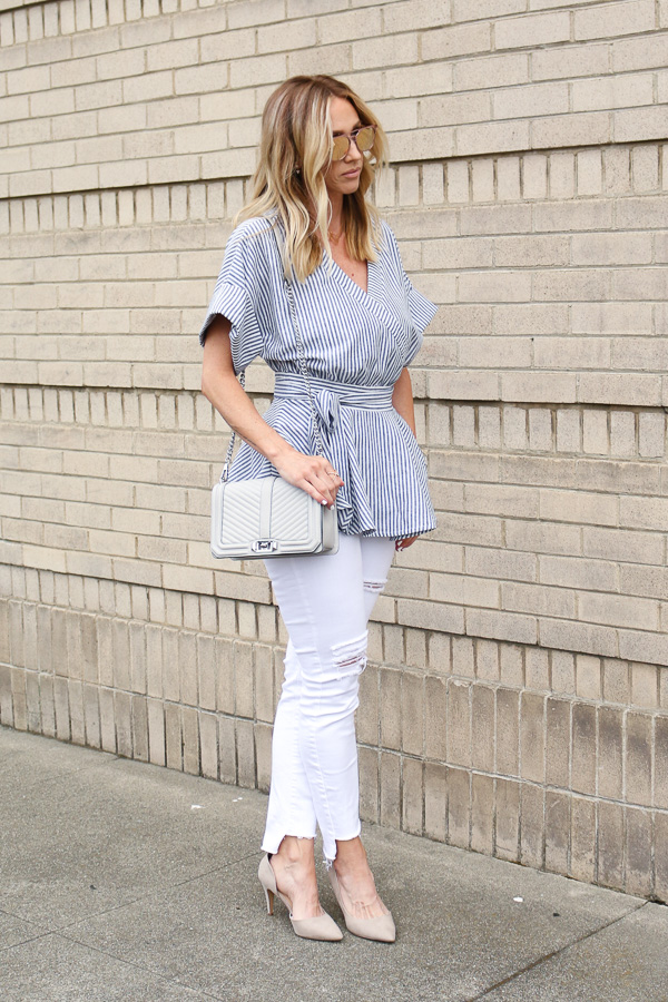 blue and white striped blouse