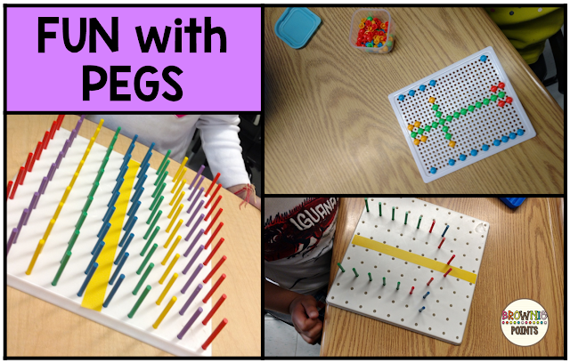 Symmetry centers in first grade.  Fun with pegs and peg boards!