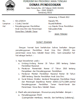 Surat Perintah Larangan Calistung di Lembaga PAUD di Jateng