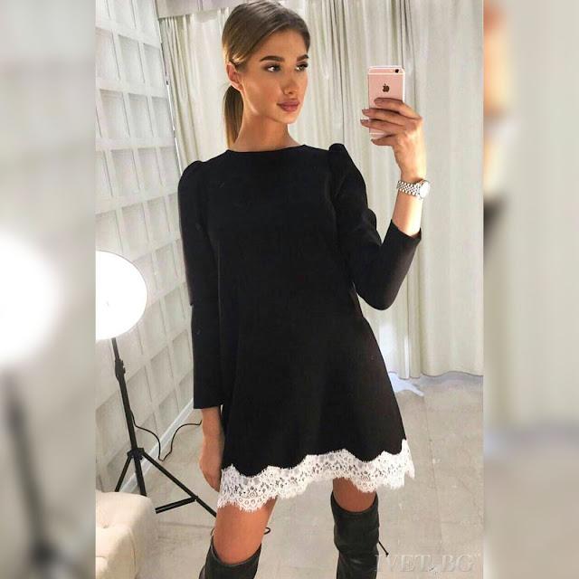Μακρυμάνικο κοντό μαύρο φόρεμα KATRINE BLACK