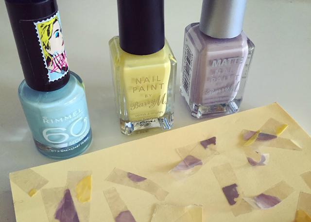 Mint yellow grey nail varnish