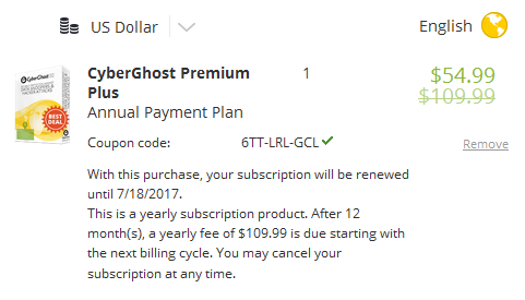 Cyberghost Premium VPN Coupon