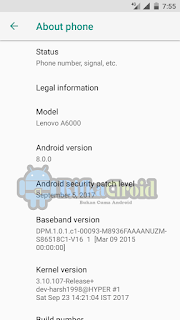 Android Oreo Untuk Lenovo A6000/+