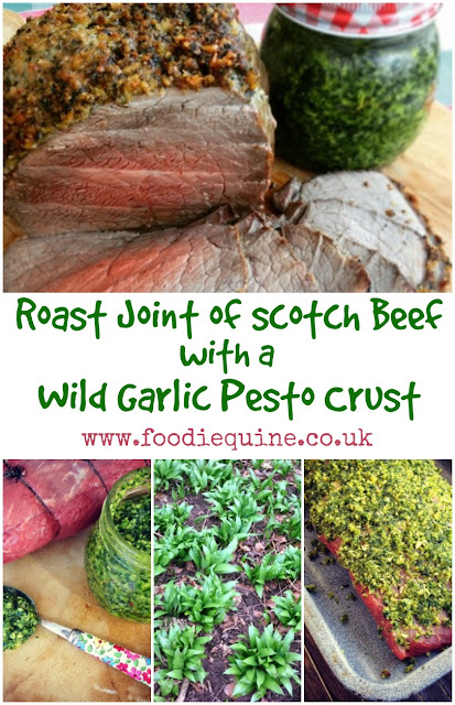 www.foodiequine.co.uk Capture the flavours of Spring with a Joint of Scotch Beef topped with a Wild Garlic Pesto Crust. Head out to a local woodland, field or riverbank and forage for some seasonal wild garlic. The resulting pesto is such a versatile ingredient with a multitude of uses.