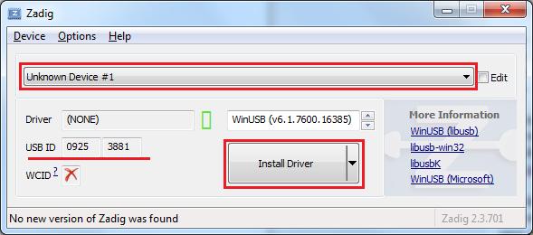 Instalare driver pentru analizorul logic FX2LP