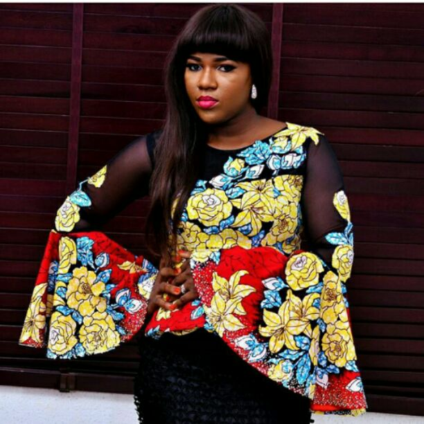 Ankara top on black skirt