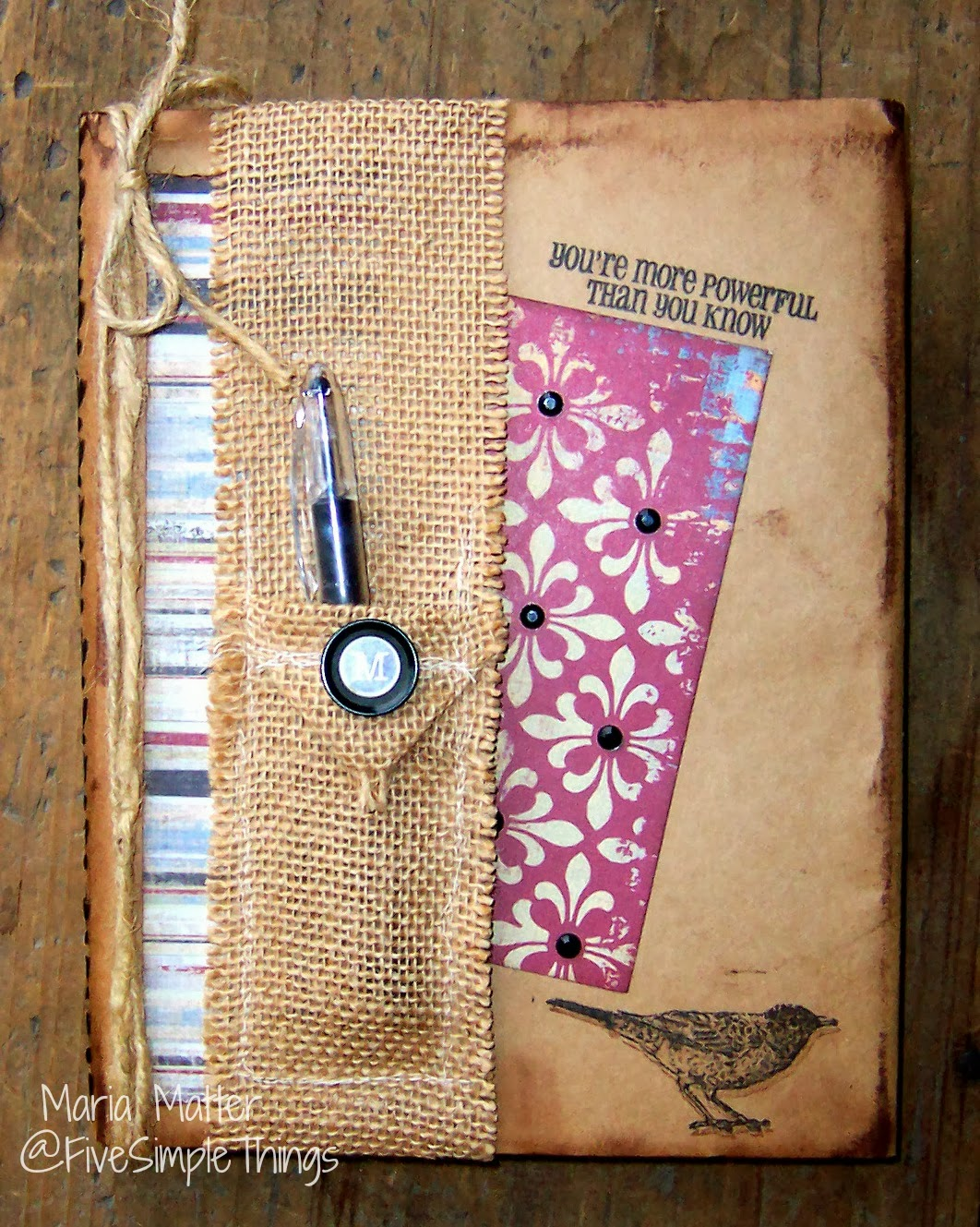 Book Cover Scrapbook Paper : Five simple things my journal with burlap pen holder